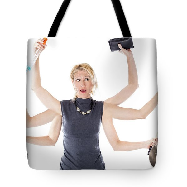 Tote Bag featuring the digital art Multitasking Housewife by Benny Marty