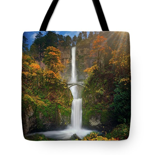 Multnomah Falls In Autumn Colors -panorama Tote Bag