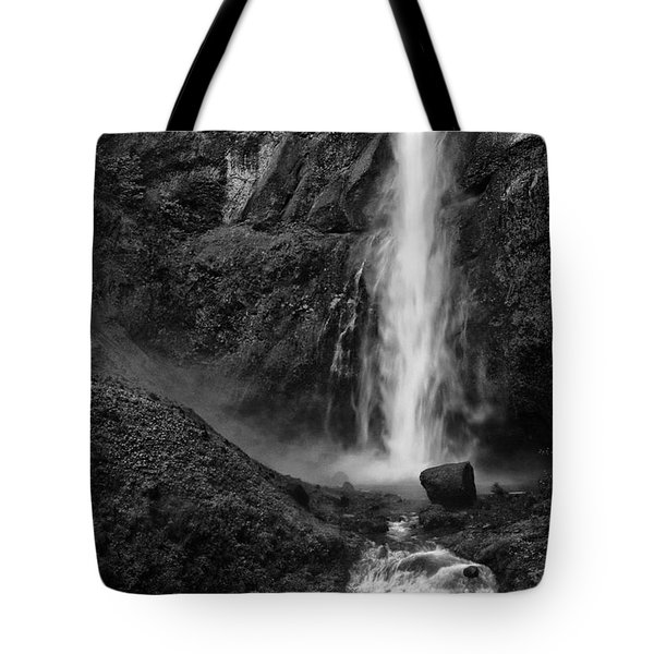Multnomah Falls In Black And White Tote Bag
