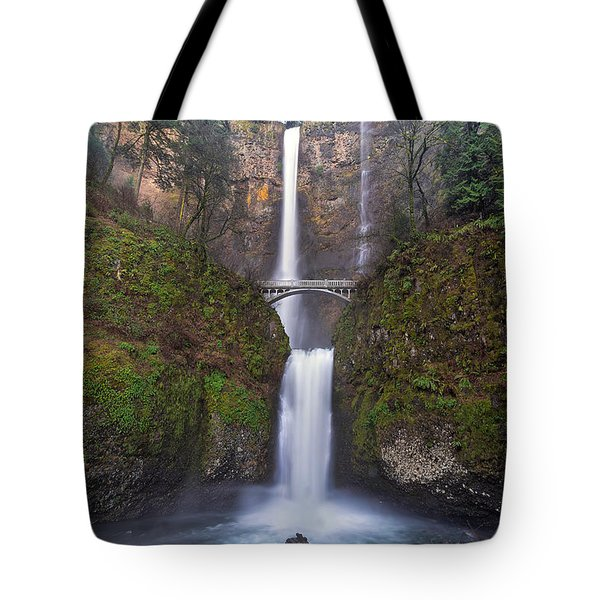 Multnomah Falls In Spring Tote Bag by David Gn