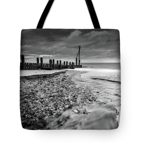 Tote Bag featuring the photograph Mundesley Beach - Mono by James Billings