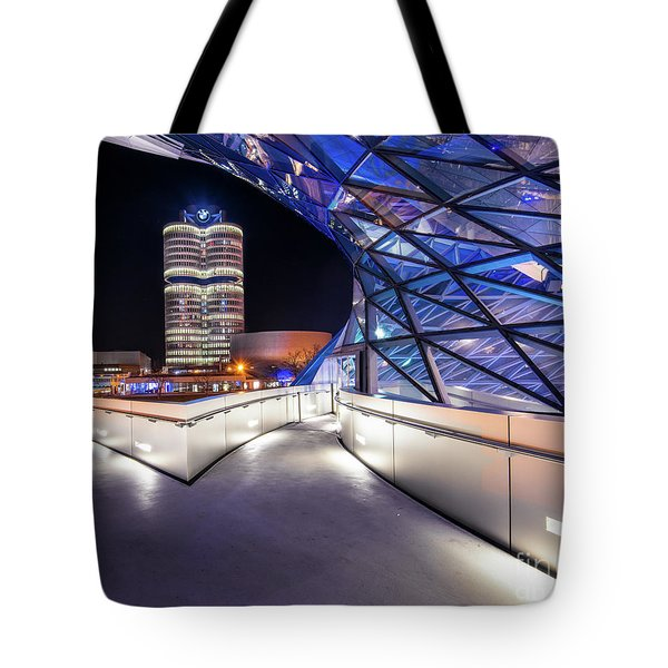 Tote Bag featuring the pyrography Munich - Bwm Modern And Futuristic by Hannes Cmarits