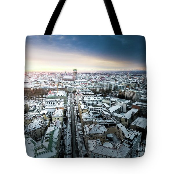 Tote Bag featuring the photograph Munich - Sunrise At A Winter Day by Hannes Cmarits