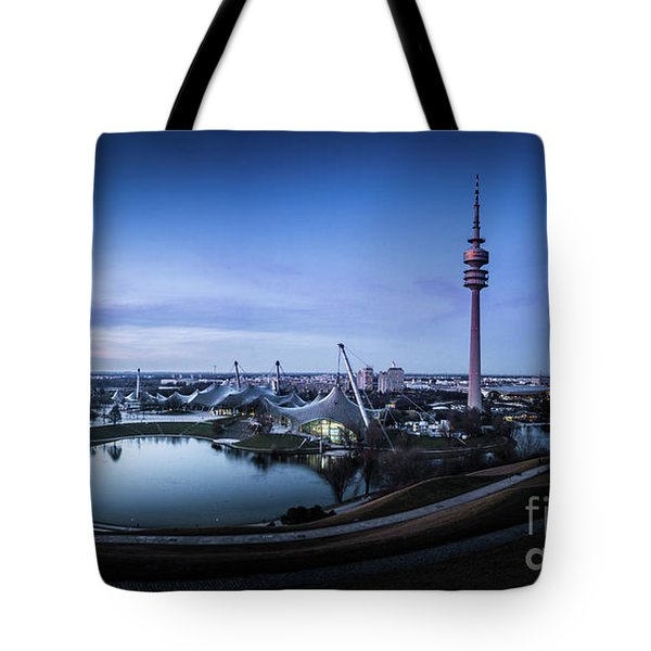 Tote Bag featuring the photograph Munich - Watching The Sunset At The Olympiapark by Hannes Cmarits