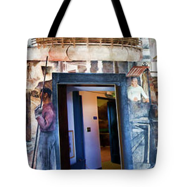Mural Coit Tower Interior Panorama  Tote Bag