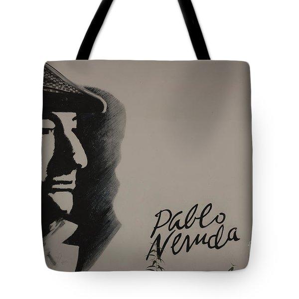Mural Of Nobel Laureate Poet Pablo Neruda Tote Bag