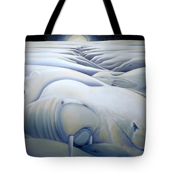 Mural  Winters Embracing Crevice Tote Bag by Nancy Griswold