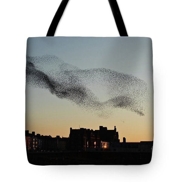 Murmuration Of Starlings Over Aberystwyth Wales Uk Tote Bag