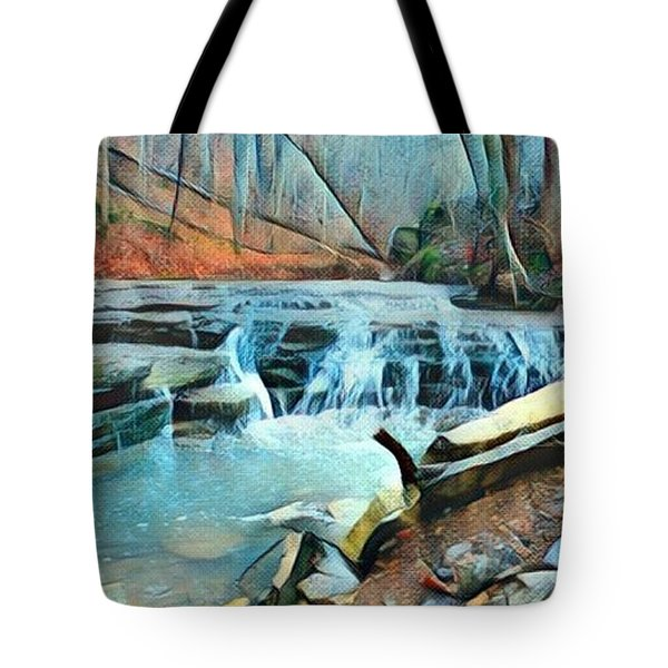 Muscatatuck Falls Touch Of Blue Abstract Tote Bag