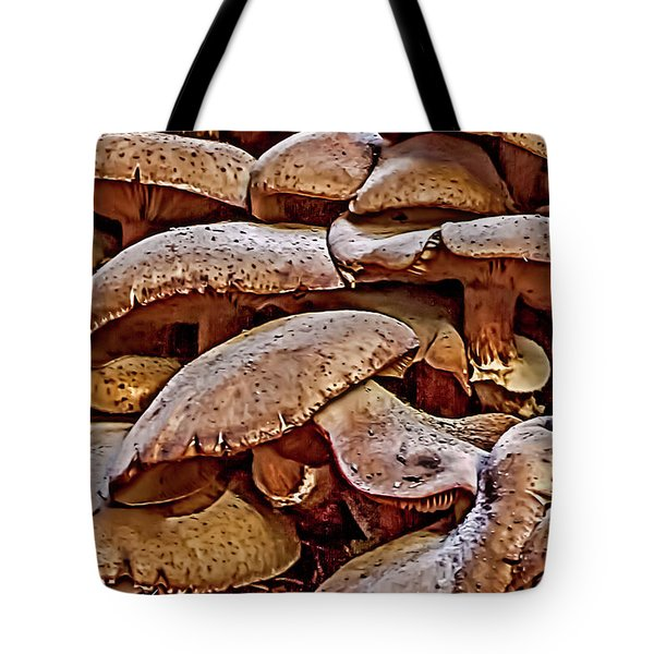 Tote Bag featuring the photograph Mushroom Colony by Bill Gallagher
