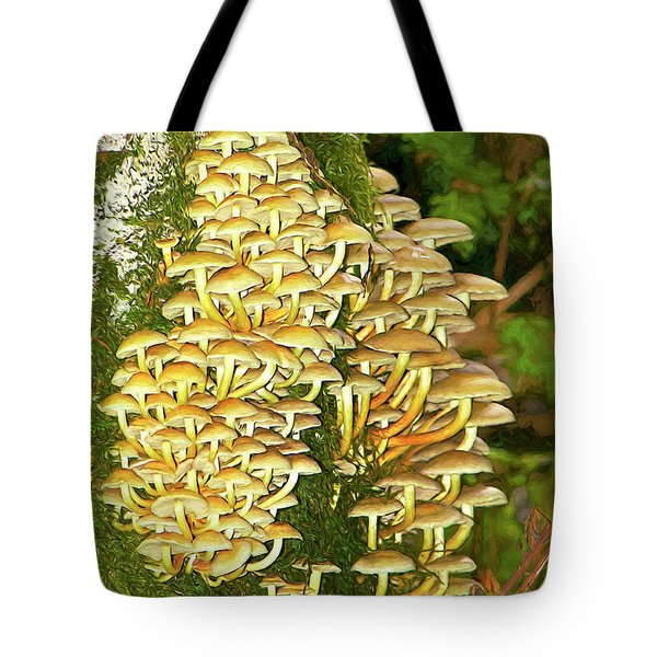 Tote Bag featuring the photograph Mushroom Colony Photo Art by Sharon Talson