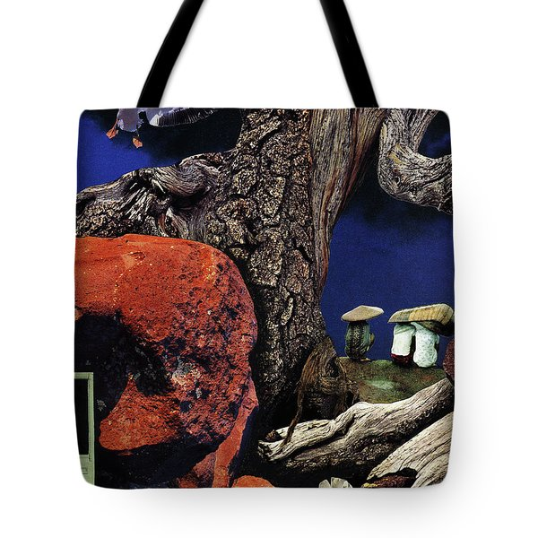 Tote Bag featuring the painting Mushroom People - Collage by Linda Apple