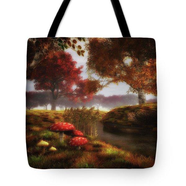 Mushrooms And River Tote Bag