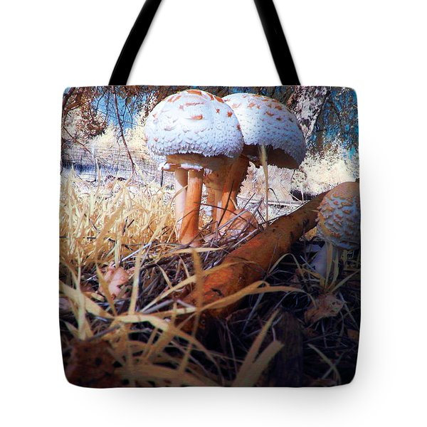 Mushrooms In The Grass Tote Bag