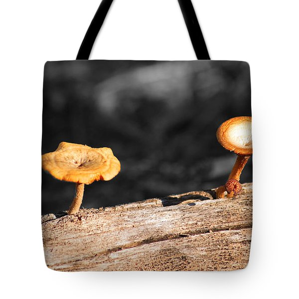 Mushrooms On A Branch Tote Bag