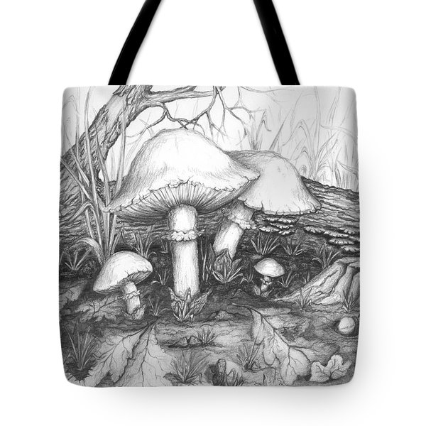 Mushrooms -pencil Study Tote Bag by Doug Kreuger