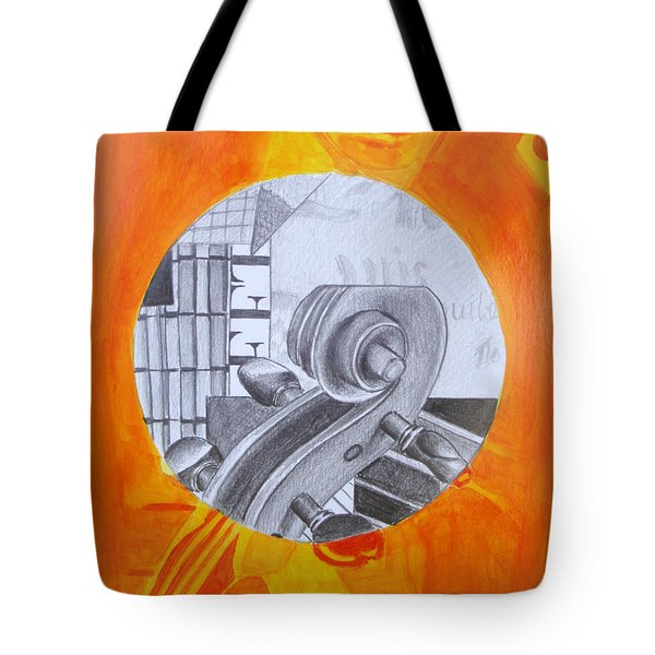 Tote Bag featuring the painting Music 3 by Maria Langgle