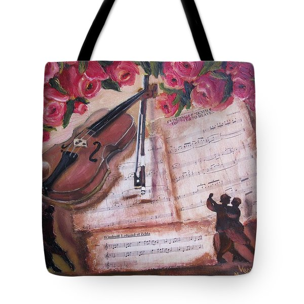 Music And Roses Tote Bag