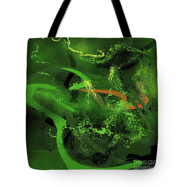 Tote Bag featuring the painting Music In Green by S G