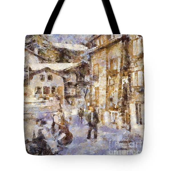 Music In The Village Square Tote Bag