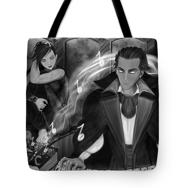Music Is Magic - Black And White Fantasy Art Tote Bag