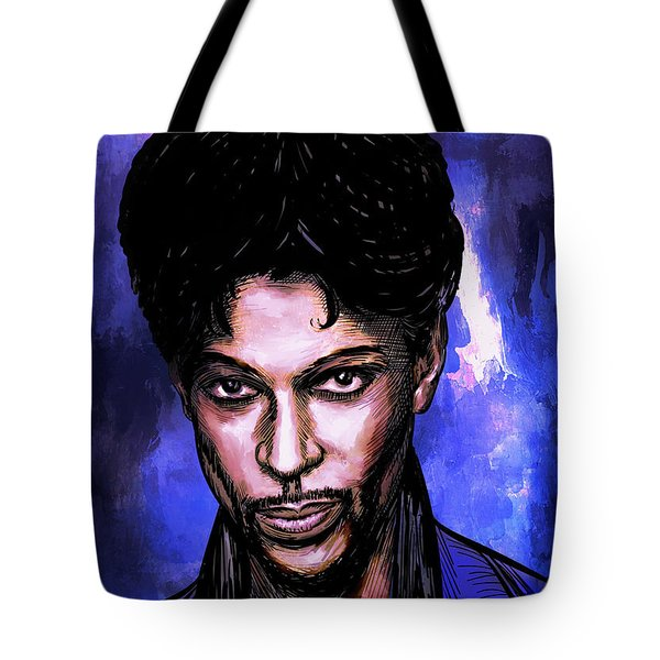 Tote Bag featuring the painting Music Legend  Prince by Andrzej Szczerski