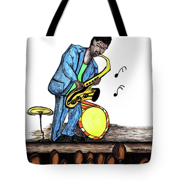 Music Man Cartoon Tote Bag