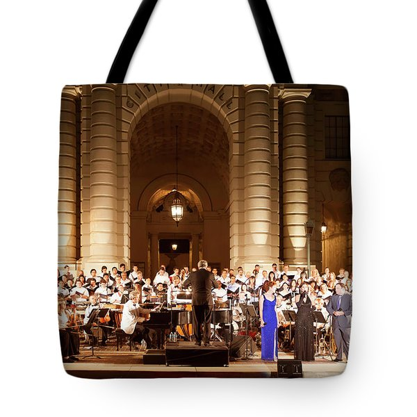 Tote Bag featuring the photograph Music Under The Stars - Symphony At Pasadena City Hall California by Ram Vasudev
