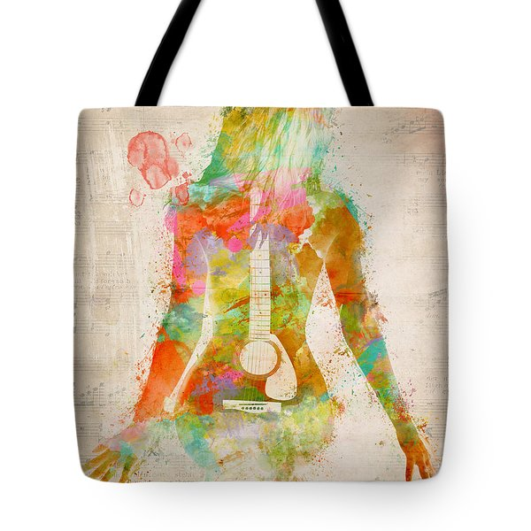 Tote Bag featuring the digital art Music Was My First Love by Nikki Marie Smith