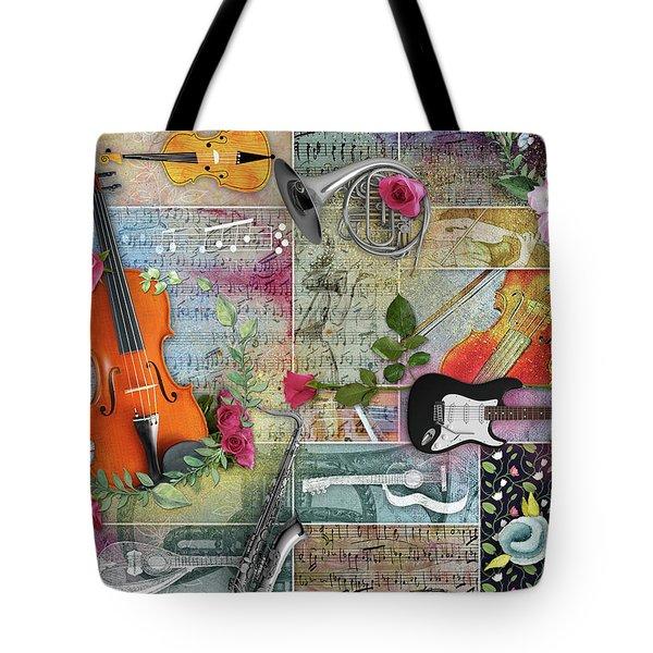 Musical Garden Collage Tote Bag