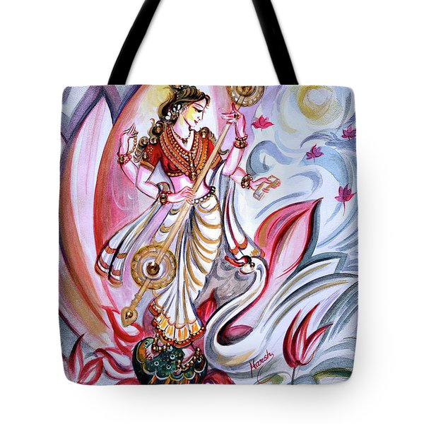 Musical Goddess Saraswati - Healing Art Tote Bag