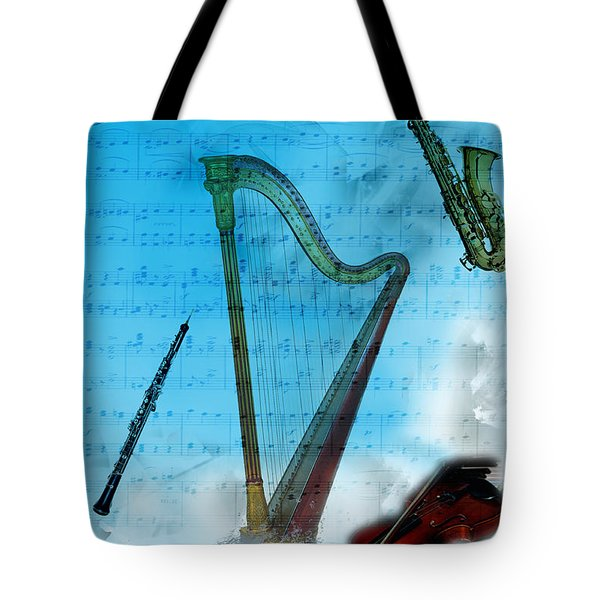 Tote Bag featuring the digital art Musical Instruments by Angel Jesus De la Fuente