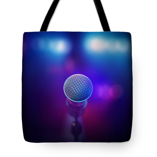 Musical Microphone On Stage Tote Bag