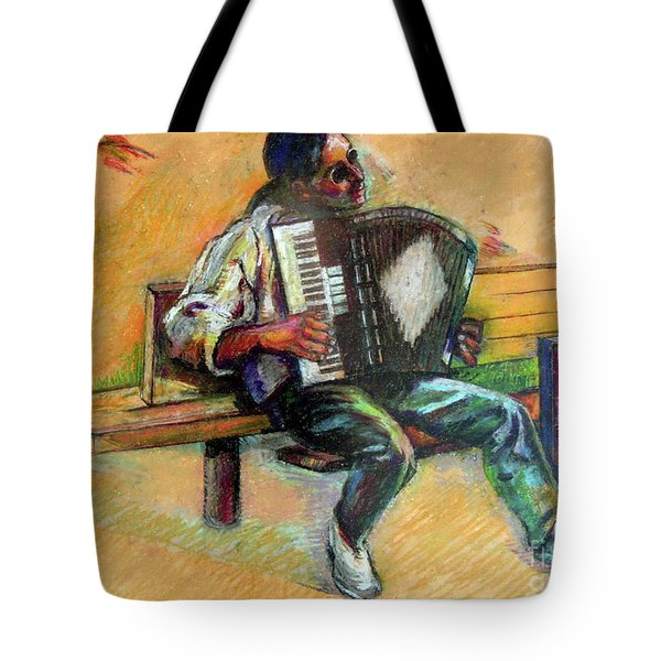Tote Bag featuring the drawing Musician With Accordion by Stan Esson