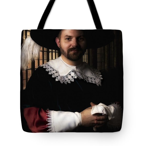 Tote Bag featuring the photograph Musketeer In The Old Castle Hall by Jaroslaw Blaminsky