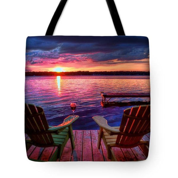 Tote Bag featuring the photograph Muskoka Chair Sunset by Michaela Preston