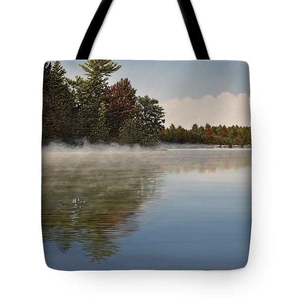 Muskoka Morning Mist Tote Bag by Kenneth M  Kirsch