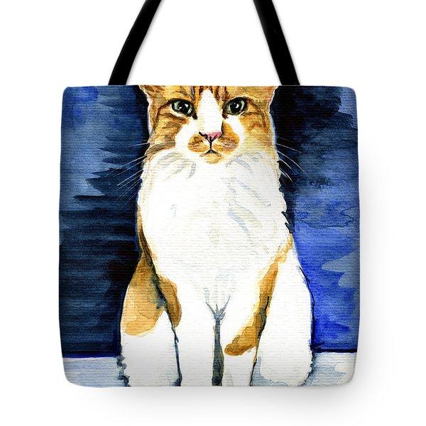 Mustached Bicolor Beauty - Cat Portrait Tote Bag