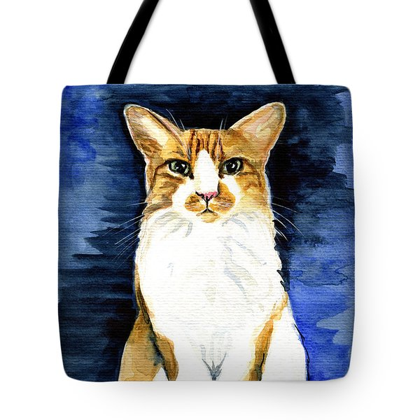 Mustached Bicolor Beauty - Cat Portrait Tote Bag