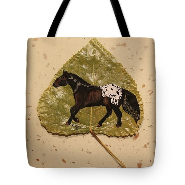 Mustang Appaloosa On Poplar Leaf Tote Bag