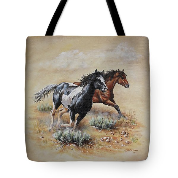 Tote Bag featuring the painting Mustang Glory by Kim Lockman