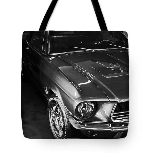 Tote Bag featuring the photograph Mustang In Black And White by John Stuart Webbstock