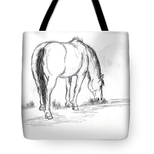 Mustang Mare Field Sketch Tote Bag by Dawn Senior-Trask