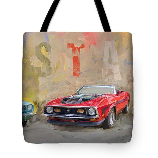 Mustang Panorama Painting Tote Bag