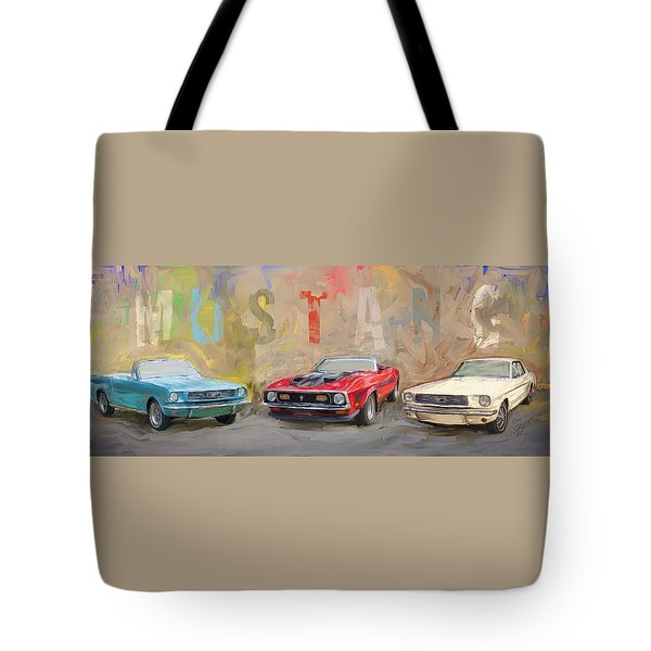 Mustang Panorama Painting Tote Bag