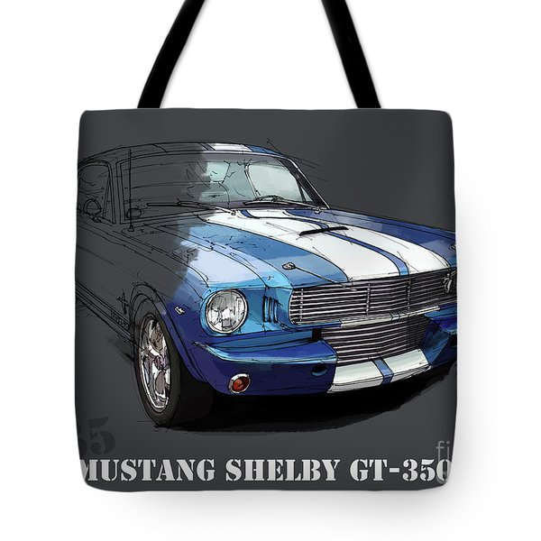 Mustang Shelby Gt-350, Blue And White Classic Car, Gift For Men Tote Bag