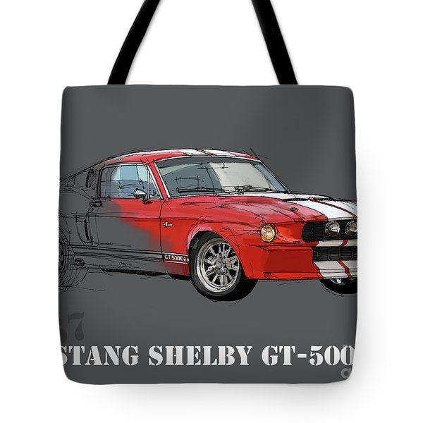 Mustang Shelby Gt500 Red, Handmade Drawing, Original Classic Car For Man Cave Decoration Tote Bag