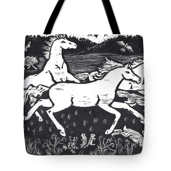 Mustangs Frisking On The High Plains Tote Bag by Dawn Senior-Trask