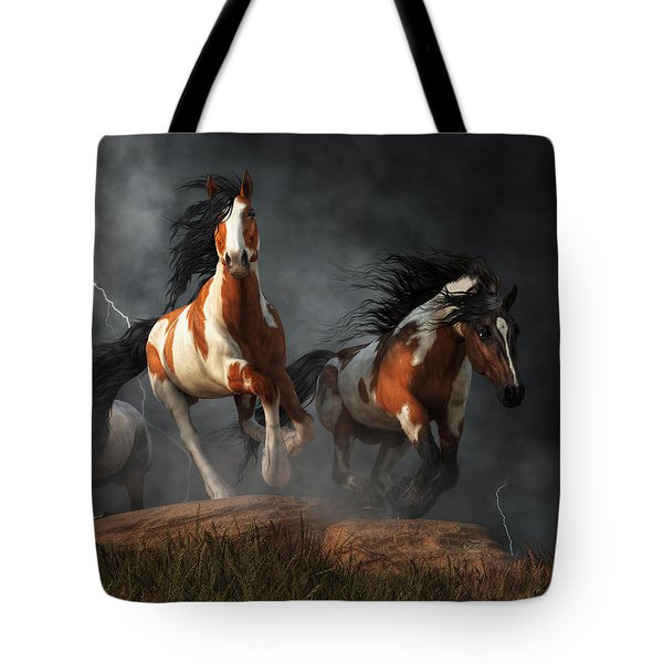Tote Bag featuring the digital art Mustangs Of The Storm by Daniel Eskridge