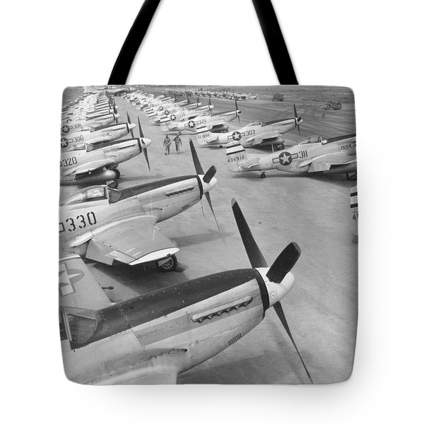 Tote Bag featuring the photograph Mustangs On Iwo Jima 1945 by John King
